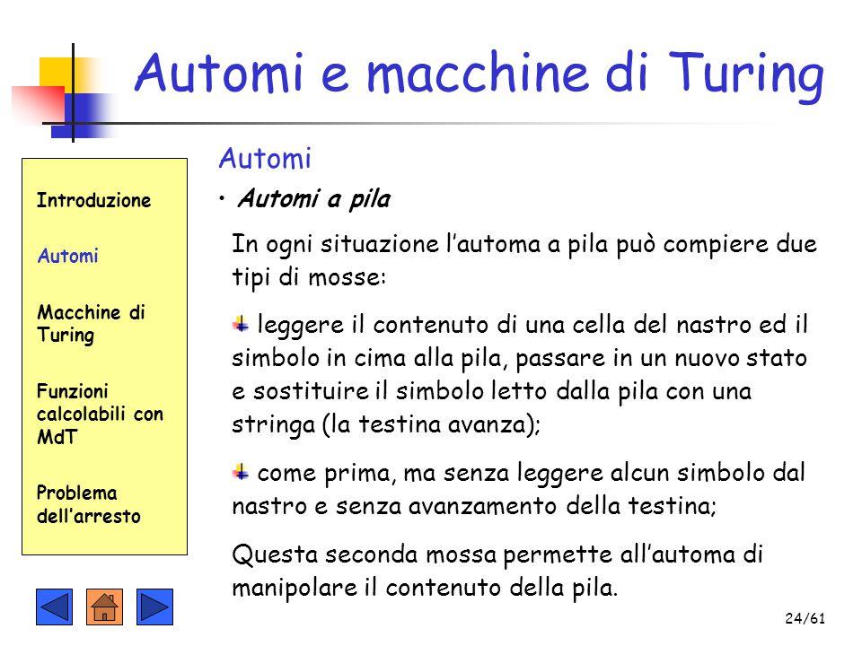Automi e macchine di Turing Introduzione Automi Macchine di Turing Funzioni calcolabili con MdT Problema dell'arresto Automi Automi a pila In ogni sit