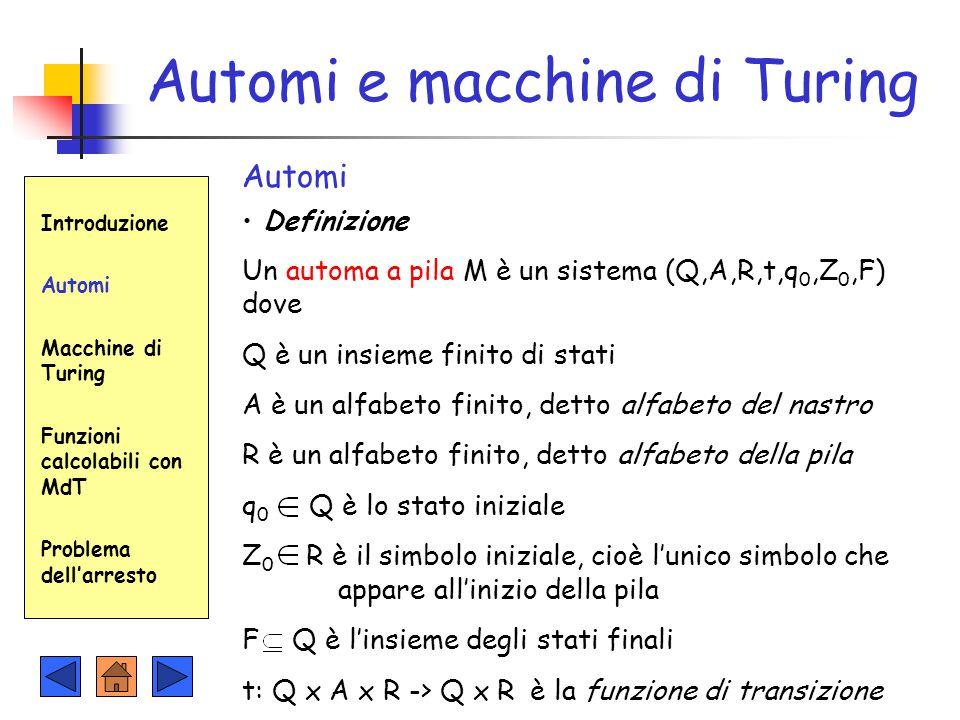 Automi e macchine di Turing Introduzione Automi Macchine di Turing Funzioni calcolabili con MdT Problema dell'arresto Automi Definizione Un automa a p