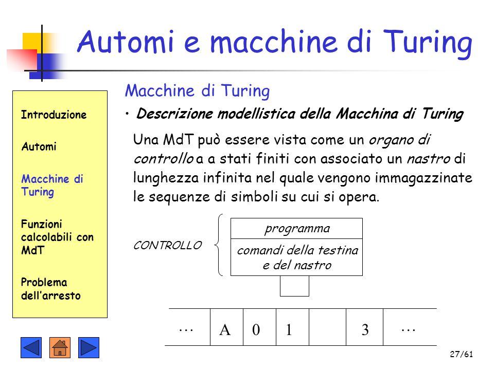 Introduzione Automi Macchine di Turing Funzioni calcolabili con MdT Problema dell'arresto Automi e macchine di Turing Macchine di Turing Descrizione m