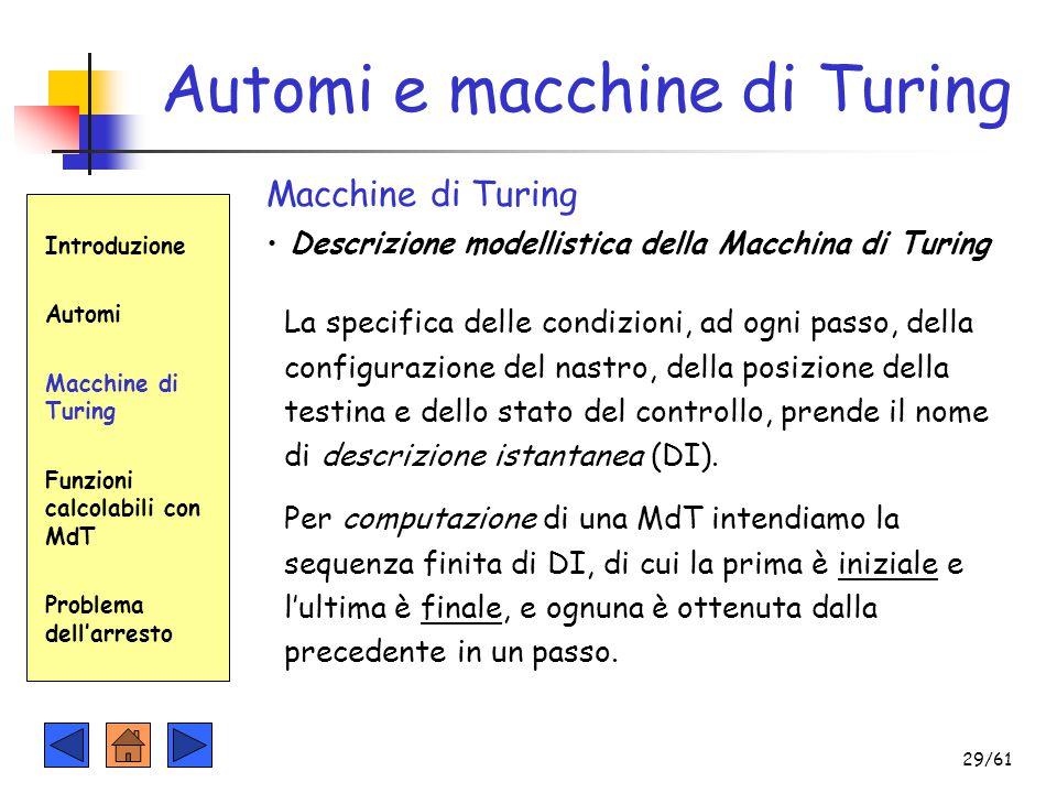 Automi e macchine di Turing Introduzione Automi Macchine di Turing Funzioni calcolabili con MdT Problema dell'arresto Macchine di Turing Descrizione m