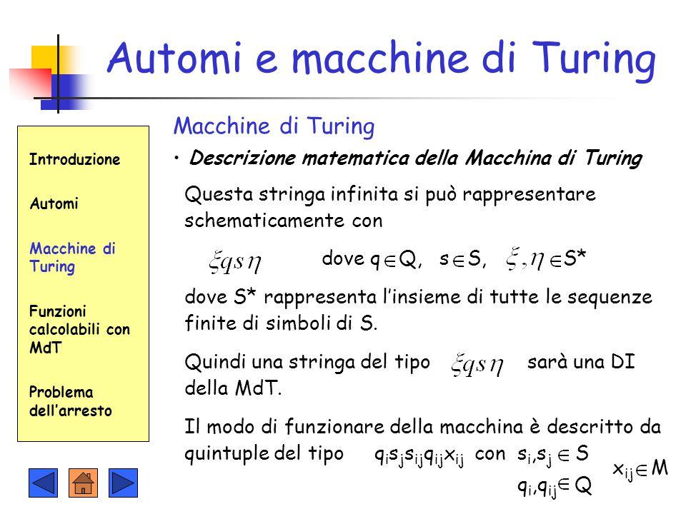 Automi e macchine di Turing Macchine di Turing Descrizione matematica della Macchina di Turing Introduzione Automi Macchine di Turing Funzioni calcola