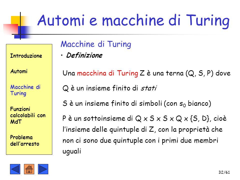 Automi e macchine di Turing Introduzione Automi Macchine di Turing Funzioni calcolabili con MdT Problema dell'arresto Macchine di Turing Definizione U