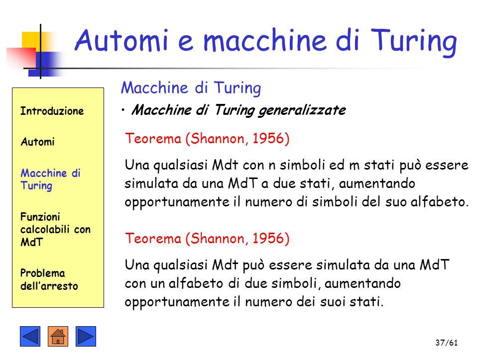 Automi e macchine di Turing Introduzione Automi Macchine di Turing Funzioni calcolabili con MdT Problema dell'arresto Macchine di Turing Macchine di T