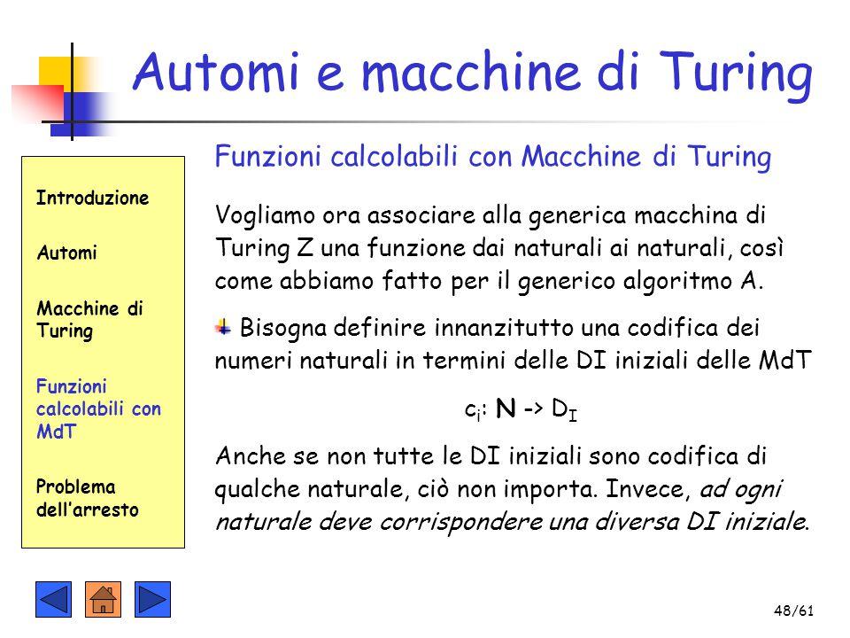 Automi e macchine di Turing Introduzione Automi Macchine di Turing Funzioni calcolabili con MdT Problema dell'arresto Funzioni calcolabili con Macchin