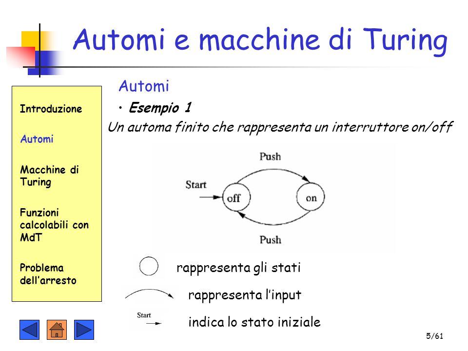 Automi e macchine di Turing Introduzione Automi Macchine di Turing Funzioni calcolabili con MdT Problema dell'arresto Automi Esempio 1 rappresenta gli