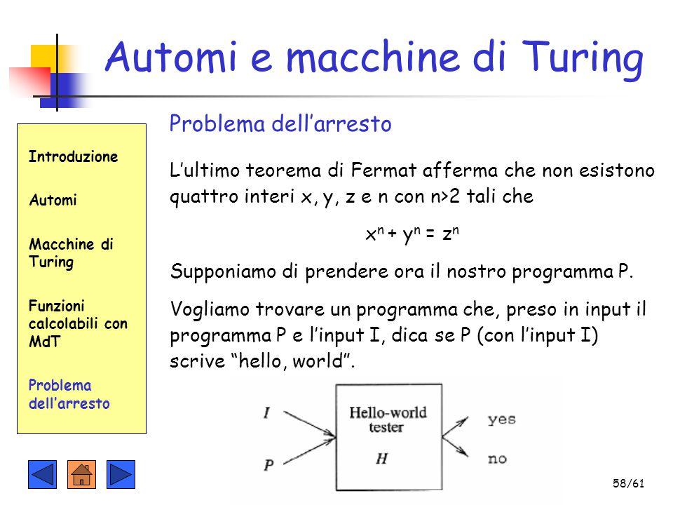 Introduzione Automi Macchine di Turing Funzioni calcolabili con MdT Problema dell'arresto Automi e macchine di Turing Problema dell'arresto L'ultimo t