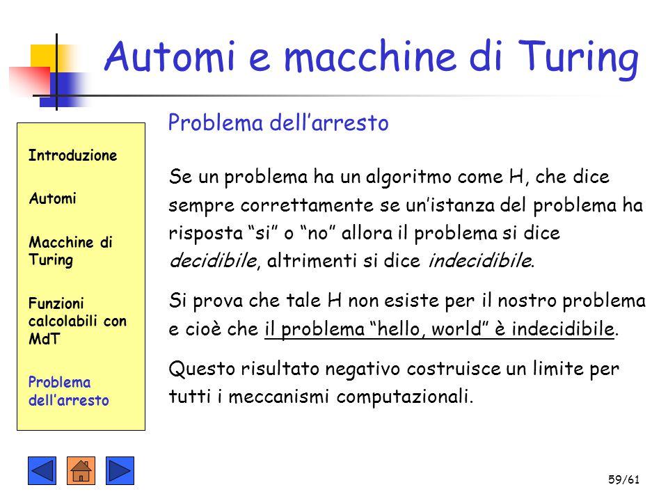 Introduzione Automi Macchine di Turing Funzioni calcolabili con MdT Problema dell'arresto Automi e macchine di Turing Problema dell'arresto Se un prob