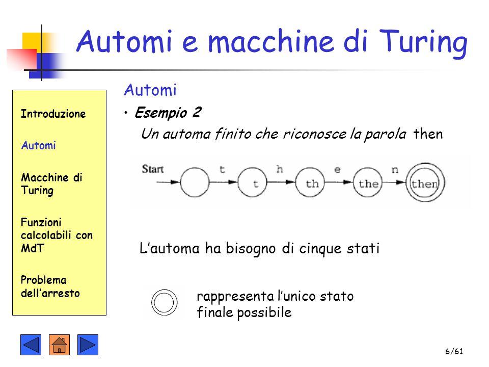 Automi e macchine di Turing Introduzione Automi Macchine di Turing Funzioni calcolabili con MdT Problema dell'arresto Automi Esempio 2 Un automa finit