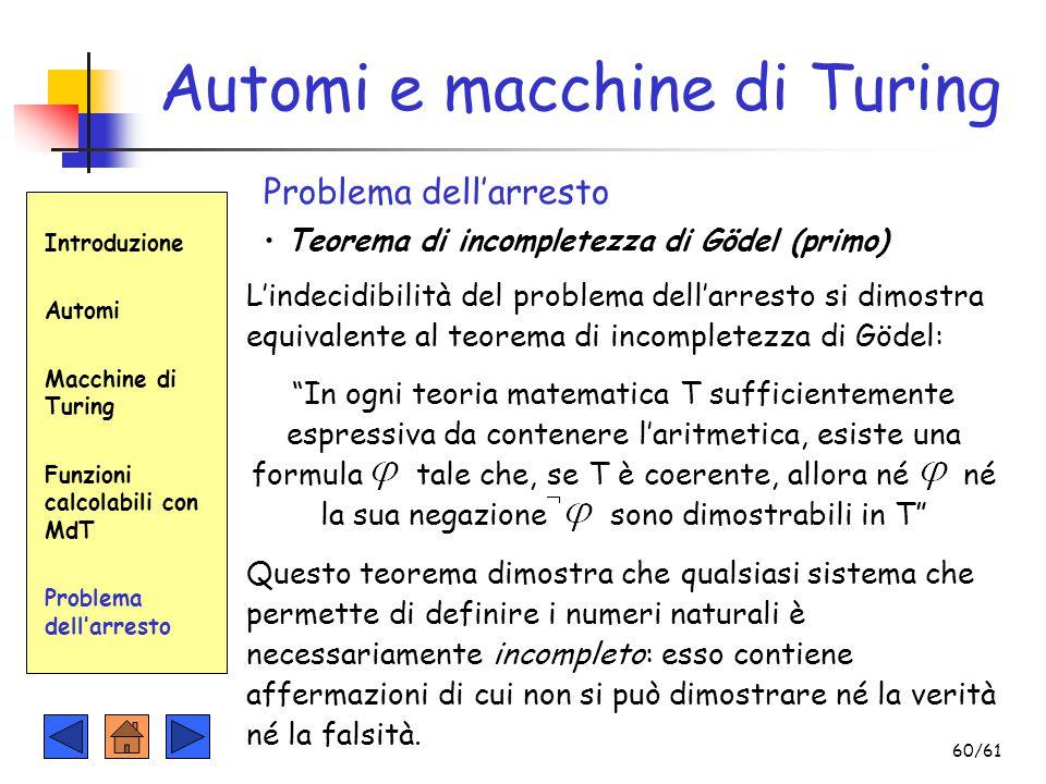 Introduzione Automi Macchine di Turing Funzioni calcolabili con MdT Problema dell'arresto Automi e macchine di Turing Problema dell'arresto Teorema di