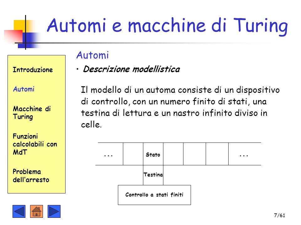 Automi e macchine di Turing Introduzione Automi Macchine di Turing Funzioni calcolabili con MdT Problema dell'arresto Automi Descrizione modellistica