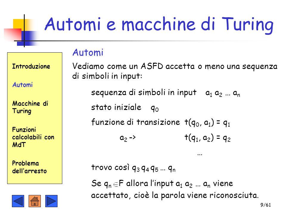 Automi e macchine di Turing Introduzione Automi Macchine di Turing Funzioni calcolabili con MdT Problema dell'arresto Automi Vediamo come un ASFD acce