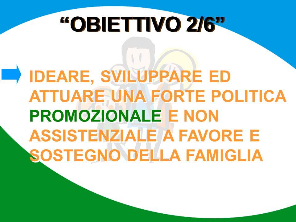 """""""OBIETTIVO 2/6"""" IDEARE, SVILUPPARE ED ATTUARE UNA FORTE POLITICA PROMOZIONALE E NON ASSISTENZIALE A FAVORE E SOSTEGNO DELLA FAMIGLIA"""