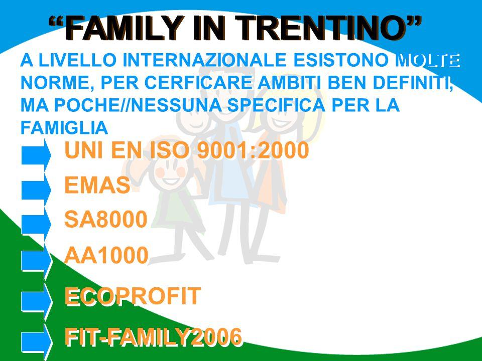 """""""FAMILY IN TRENTINO"""" A LIVELLO INTERNAZIONALE ESISTONO MOLTE NORME, PER CERFICARE AMBITI BEN DEFINITI, MA POCHE//NESSUNA SPECIFICA PER LA FAMIGLIA UNI"""