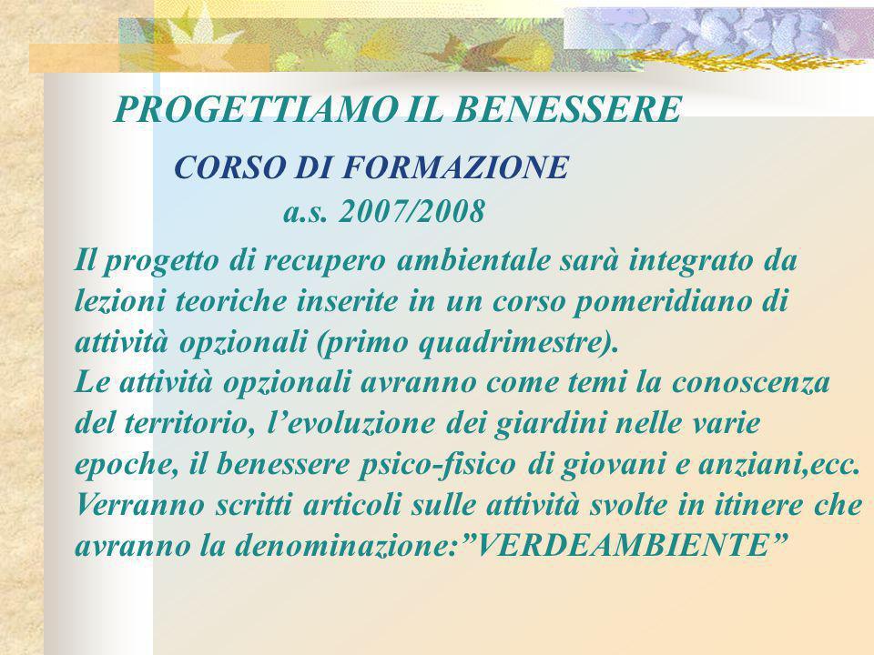 PROGETTIAMO IL BENESSERE CORSO DI FORMAZIONE a.s.