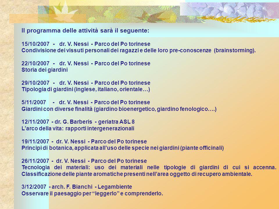 Il programma delle attività sarà il seguente: 15/10/2007 - dr.