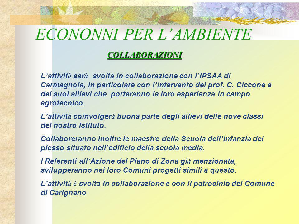 ECONONNI PER L'AMBIENTE L ' attivit à sar à svolta in collaborazione con l ' IPSAA di Carmagnola, in particolare con l ' intervento del prof.