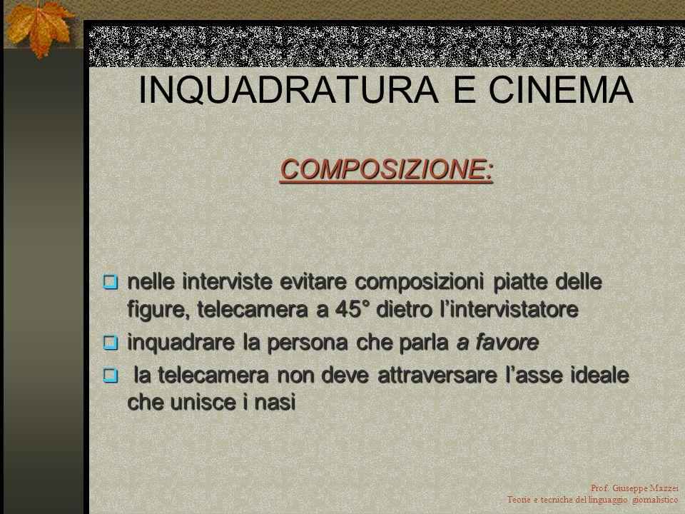 INQUADRATURA E CINEMA COMPOSIZIONE: distribuzione nello spazio visivo degli elementi inquadrati. Tale distribuzione spaziale è generatrice di signific
