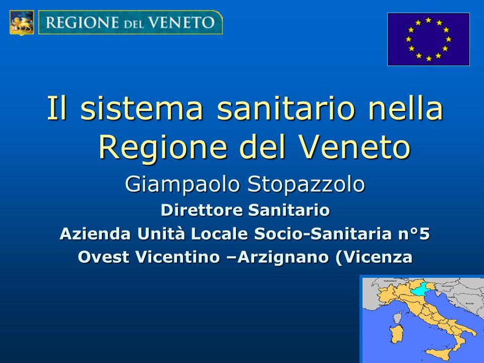 Il sistema sanitario nella Regione del Veneto Giampaolo Stopazzolo Direttore Sanitario Azienda Unità Locale Socio-Sanitaria n°5 Ovest Vicentino –Arzignano (Vicenza