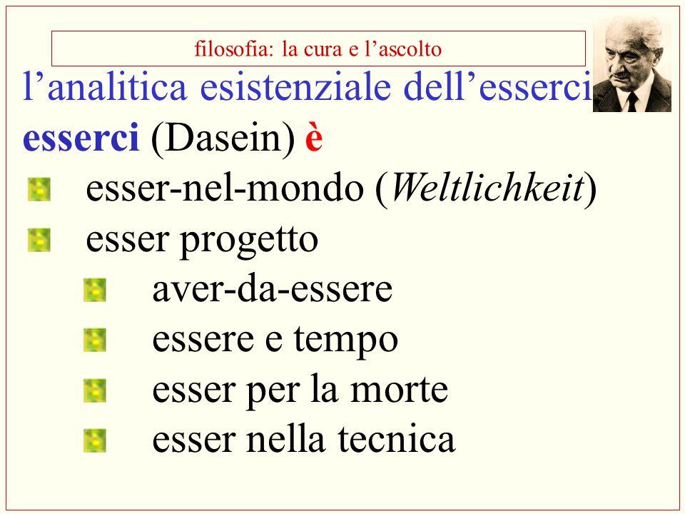 filosofia: la cura e l'ascolto l'analitica esistenziale dell'esserci esserci (Dasein) è esser-nel-mondo (Weltlichkeit) esser progetto aver-da-essere e