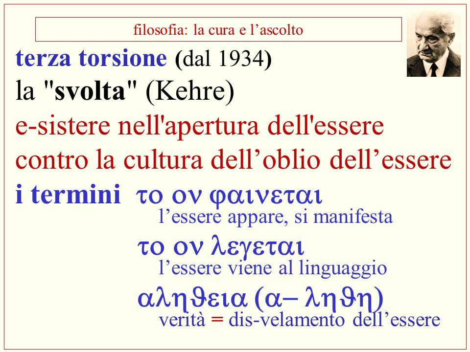 filosofia: la cura e l'ascolto terza torsione (dal 1934) la
