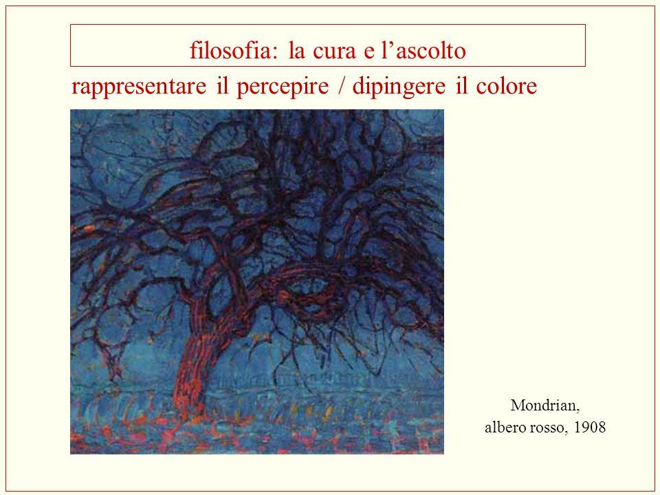 filosofia: la cura e l'ascolto Mondrian, albero rosso, 1908 rappresentare il percepire / dipingere il colore