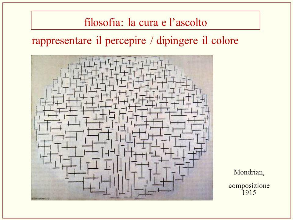 filosofia: la cura e l'ascolto Mondrian, composizione 1915 rappresentare il percepire / dipingere il colore