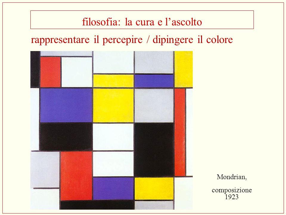 filosofia: la cura e l'ascolto Mondrian, composizione 1923 rappresentare il percepire / dipingere il colore