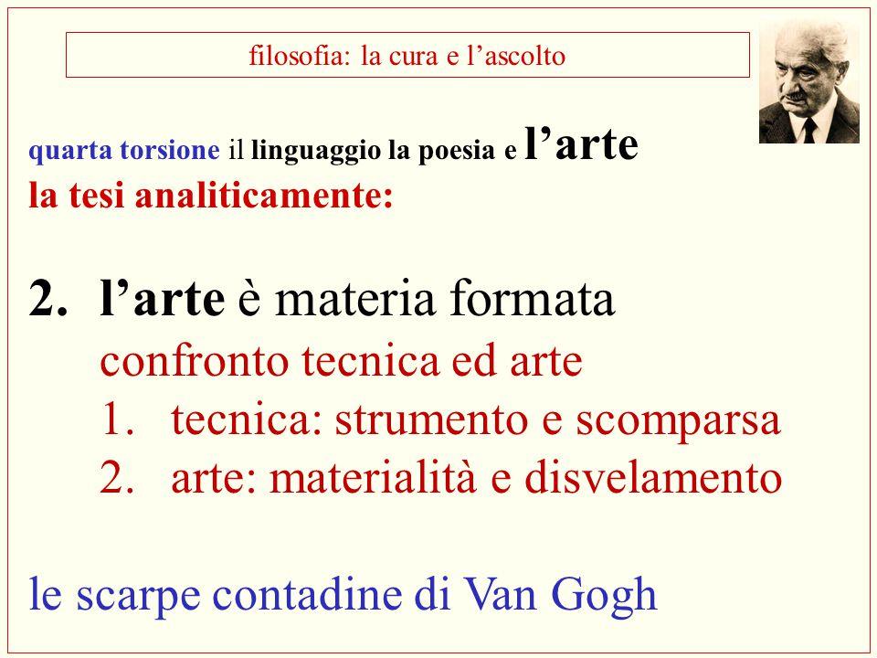 filosofia: la cura e l'ascolto quarta torsione il linguaggio la poesia e l'arte la tesi analiticamente: 2.l'arte è materia formata confronto tecnica e