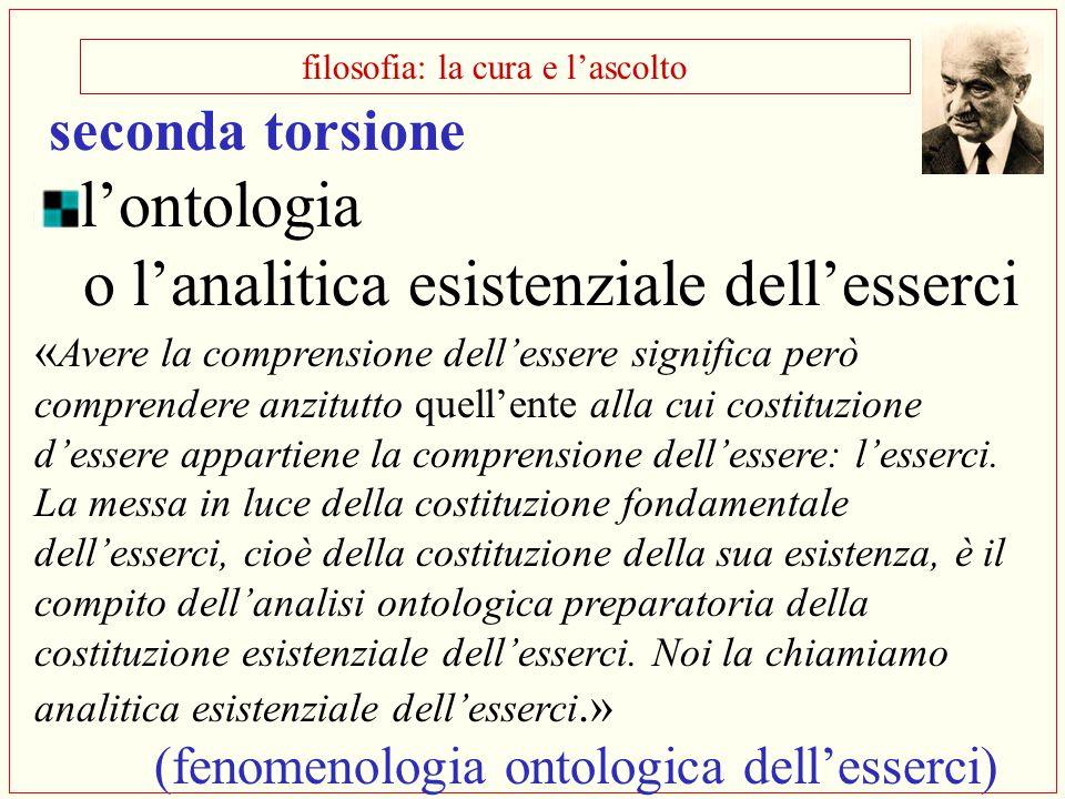 filosofia: la cura e l'ascolto seconda torsione l'ontologia o l'analitica esistenziale dell'esserci « Avere la comprensione dell'essere significa però
