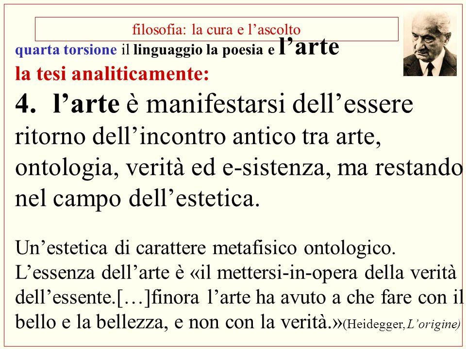 filosofia: la cura e l'ascolto quarta torsione il linguaggio la poesia e l'arte la tesi analiticamente: 4.l'arte è manifestarsi dell'essere ritorno de