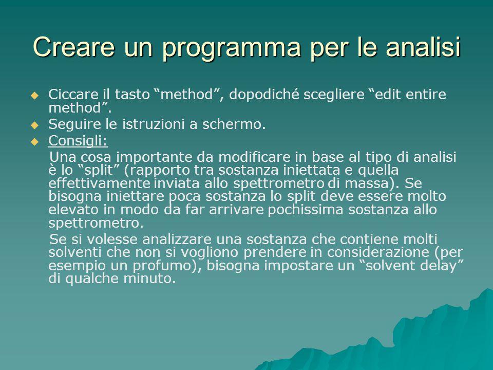 """Creare un programma per le analisi   Ciccare il tasto """"method"""", dopodiché scegliere """"edit entire method"""".   Seguire le istruzioni a schermo.   C"""