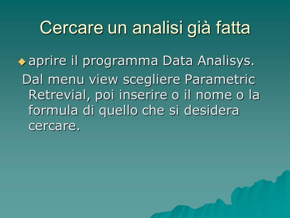 Cercare un analisi già fatta  aprire il programma Data Analisys. Dal menu view scegliere Parametric Retrevial, poi inserire o il nome o la formula di