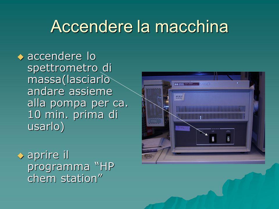 Accendere la macchina  accendere lo spettrometro di massa(lasciarlo andare assieme alla pompa per ca. 10 min. prima di usarlo)  aprire il programma