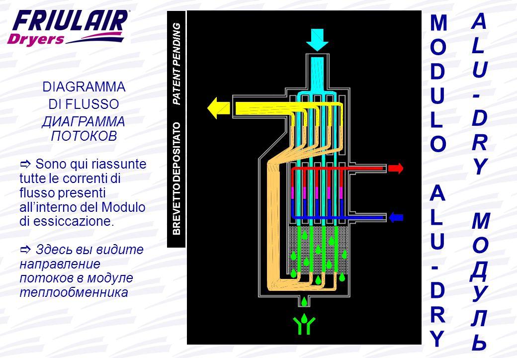 www.friulair.com ALU-DRY МОДУЛЬALU-DRY МОДУЛЬ MODULO ALU-DRYMODULO ALU-DRY DIAGRAMMA DI FLUSSO ДИАГРАММА ПОТОКОВ  Sono qui riassunte tutte le correnti di flusso presenti all'interno del Modulo di essiccazione.