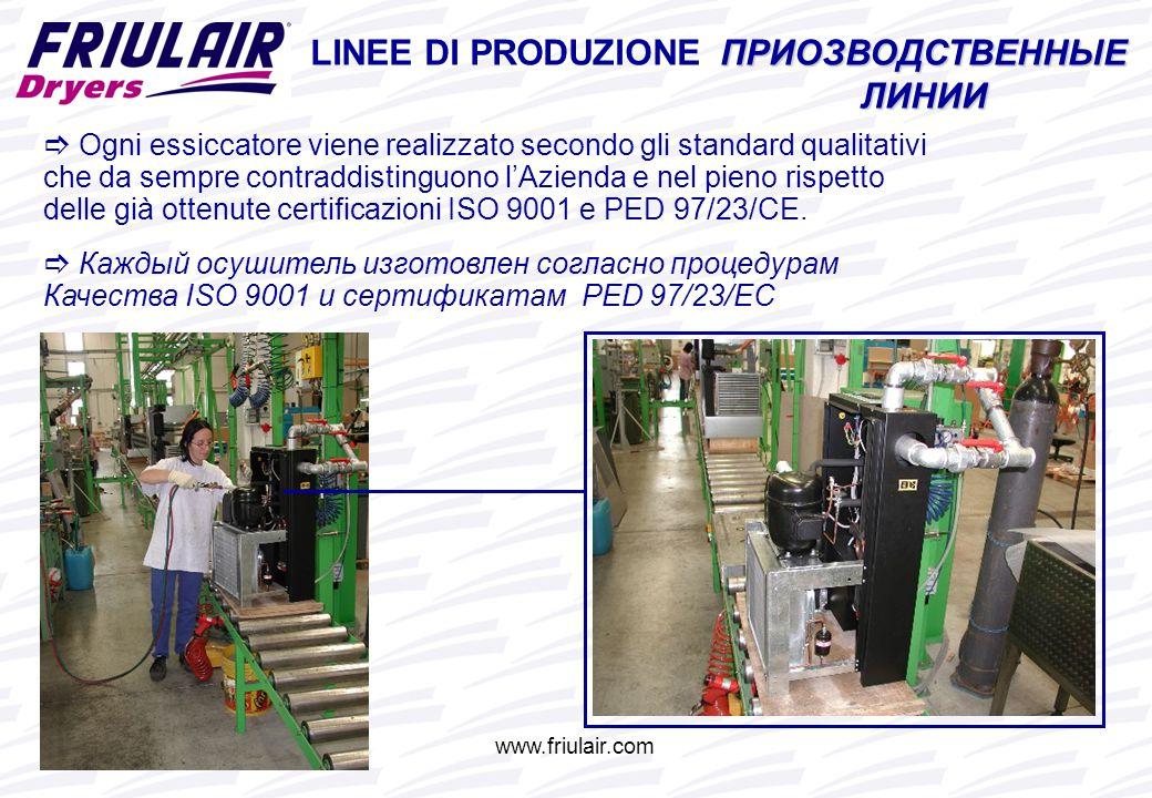  Ogni essiccatore viene realizzato secondo gli standard qualitativi che da sempre contraddistinguono l'Azienda e nel pieno rispetto delle già ottenute certificazioni ISO 9001 e PED 97/23/CE.