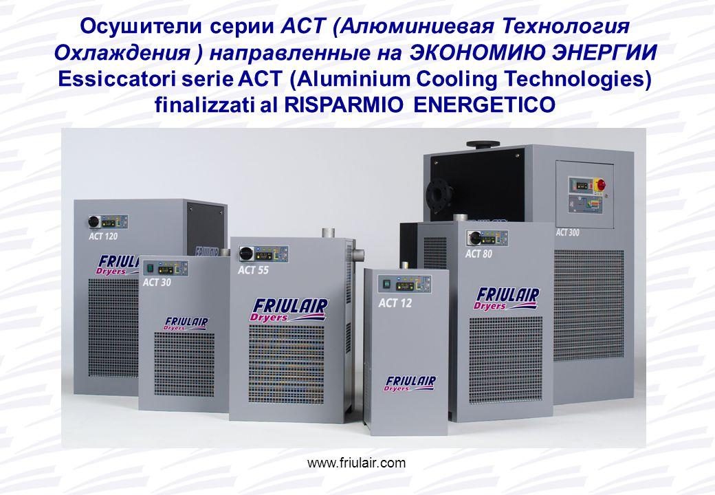 Осушители серии ACT (Алюминиевая Технология Охлаждения ) направленные на ЭКОНОМИЮ ЭНЕРГИИ Essiccatori serie ACT (Aluminium Cooling Technologies) finalizzati al RISPARMIO ENERGETICO