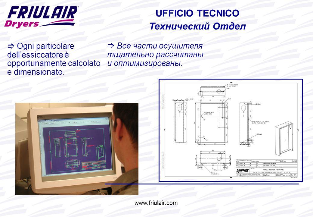 www.friulair.com UFFICIO TECNICO Технический Отдел  Ogni particolare dell'essiccatore è opportunamente calcolato e dimensionato.