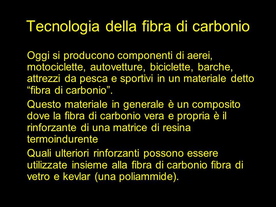 Tecnologia della fibra di carbonio Oggi si producono componenti di aerei, motociclette, autovetture, biciclette, barche, attrezzi da pesca e sportivi