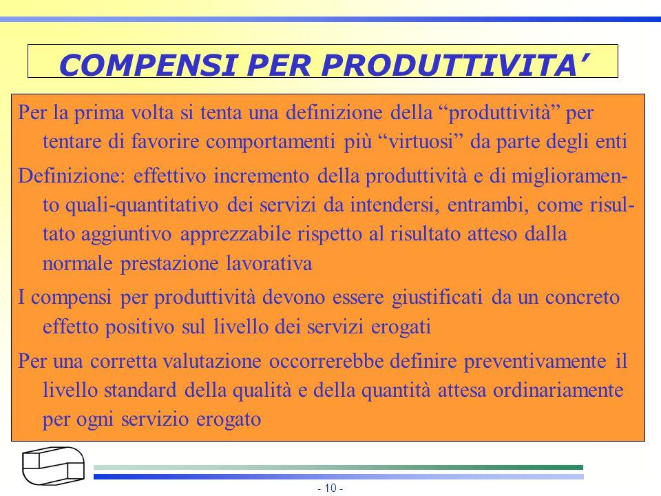 - 10 - COMPENSI PER PRODUTTIVITA' Per la prima volta si tenta una definizione della produttività per tentare di favorire comportamenti più virtuosi da parte degli enti Definizione: effettivo incremento della produttività e di miglioramen- to quali-quantitativo dei servizi da intendersi, entrambi, come risul- tato aggiuntivo apprezzabile rispetto al risultato atteso dalla normale prestazione lavorativa I compensi per produttività devono essere giustificati da un concreto effetto positivo sul livello dei servizi erogati Per una corretta valutazione occorrerebbe definire preventivamente il livello standard della qualità e della quantità attesa ordinariamente per ogni servizio erogato