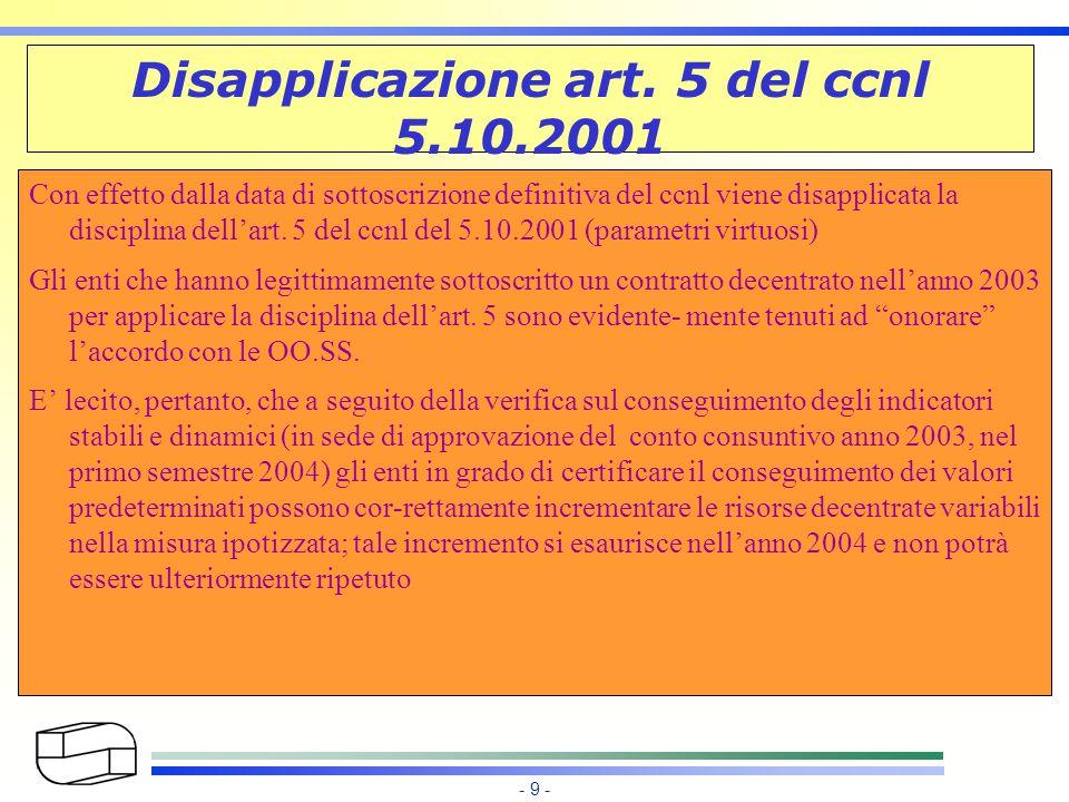 - 9 - Disapplicazione art.