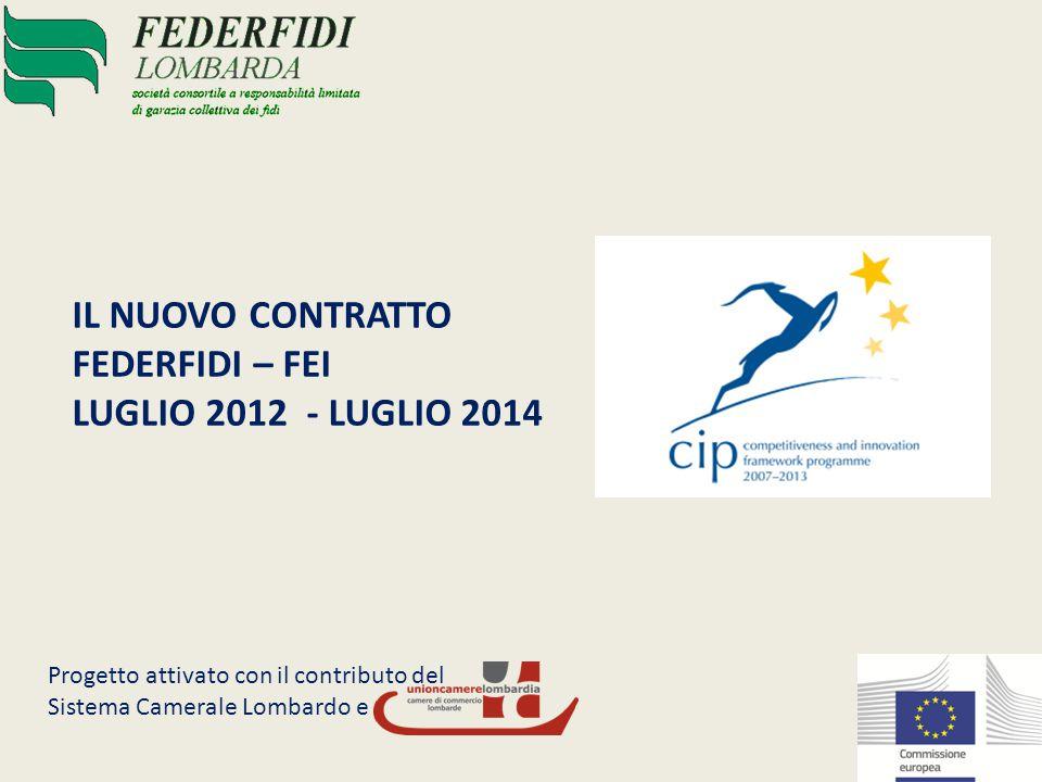 Il nuovo contratto FEI FEDERFIDIPlafond massimo di controgaranzia 280.000.000Validità: Luglio 2012 – Luglio 2014Attivato con il contributo di