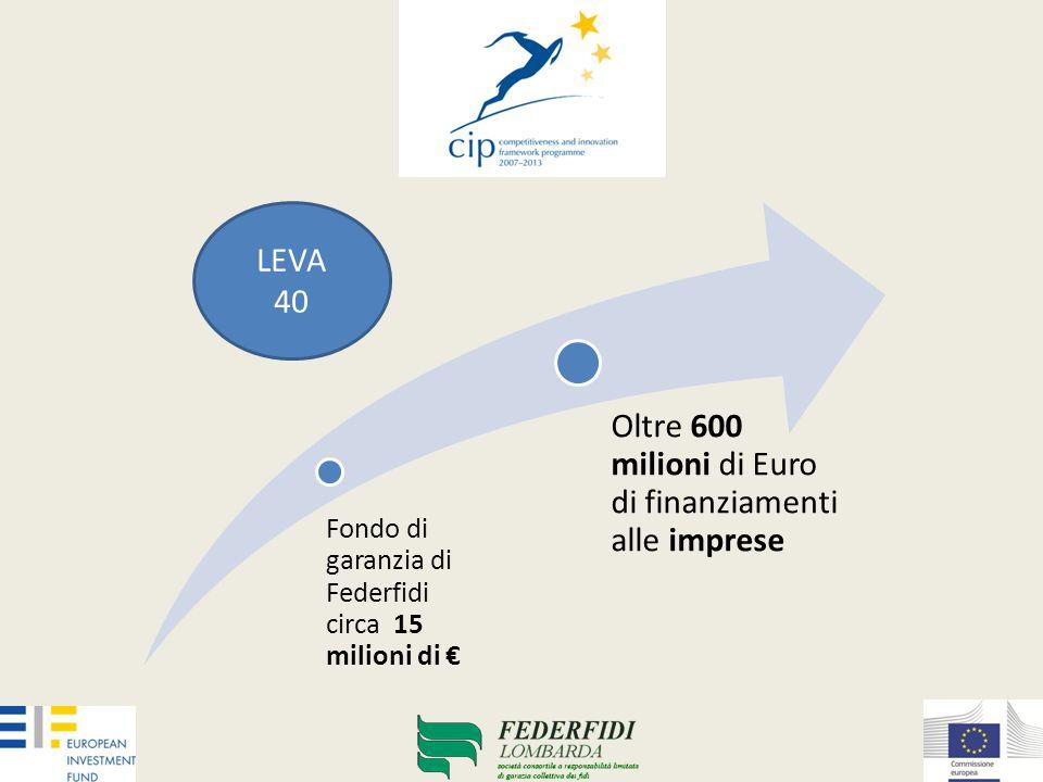 Fondo di garanzia di Federfidi circa 15 milioni di € Oltre 600 milioni di Euro di finanziamenti alle imprese LEVA 40