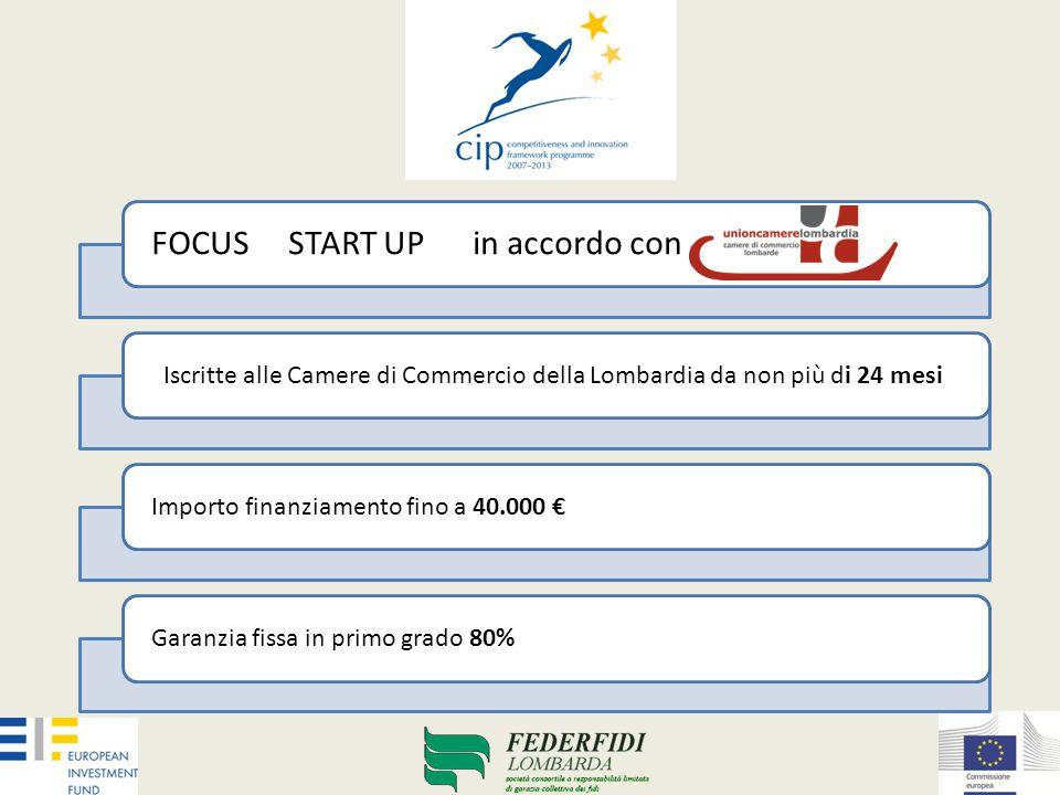 FOCUS START UP in accordo con Iscritte alle Camere di Commercio della Lombardia da non più di 24 mesiImporto finanziamento fino a 40.000 €Garanzia fissa in primo grado 80%