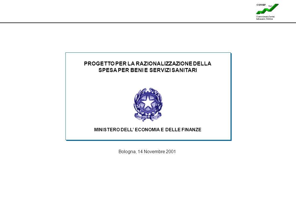1 Lines Bologna, 14 Novembre 2001 PROGETTO PER LA RAZIONALIZZAZIONE DELLA SPESA PER BENI E SERVIZI SANITARI MINISTERO DELL' ECONOMIA E DELLE FINANZE
