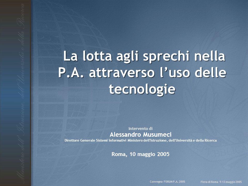 Convegno FORUM P.A. 2005 Fiera di Roma 9-13 maggio 2005 La lotta agli sprechi nella P.A. attraverso l'uso delle tecnologie Intervento di Alessandro Mu