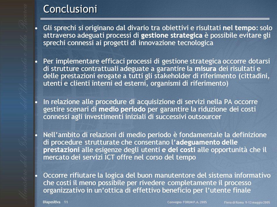 Convegno FORUM P.A. 2005 Fiera di Roma 9-13 maggio 2005 Diapositiva 11 Conclusioni Gli sprechi si originano dal divario tra obiettivi e risultati nel