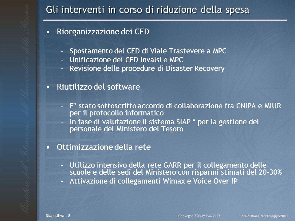 Convegno FORUM P.A. 2005 Fiera di Roma 9-13 maggio 2005 Diapositiva 8 Gli interventi in corso di riduzione della spesa Riorganizzazione dei CED –Spost