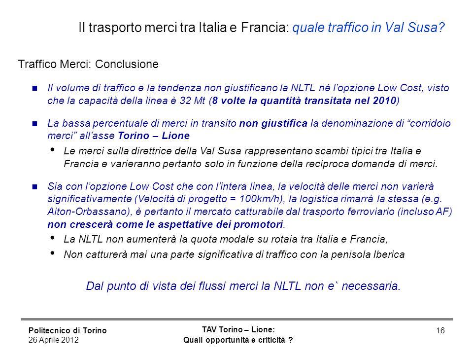 Politecnico di Torino 26 Aprile 2012 TAV Torino – Lione: Quali opportunità e criticità ? 16 Il trasporto merci tra Italia e Francia: quale traffico in