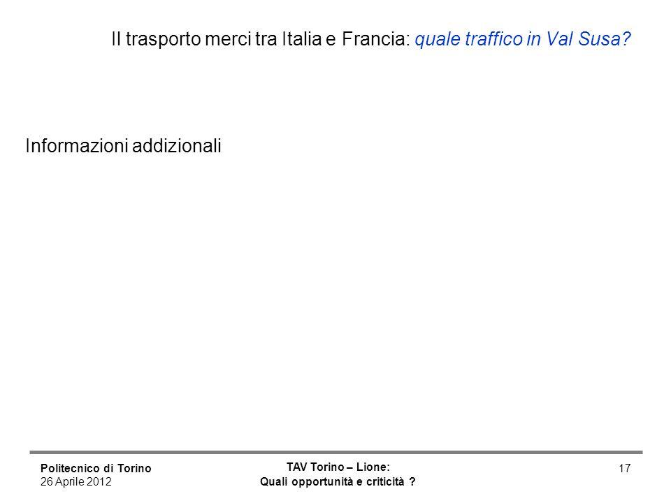 Politecnico di Torino 26 Aprile 2012 TAV Torino – Lione: Quali opportunità e criticità ? 17 Il trasporto merci tra Italia e Francia: quale traffico in