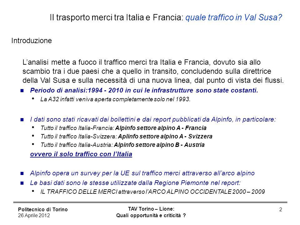 Politecnico di Torino 26 Aprile 2012 TAV Torino – Lione: Quali opportunità e criticità ? 2 Il trasporto merci tra Italia e Francia: quale traffico in